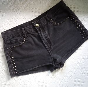 High Waist Studded Jean Cut Off Shorts - Size 29